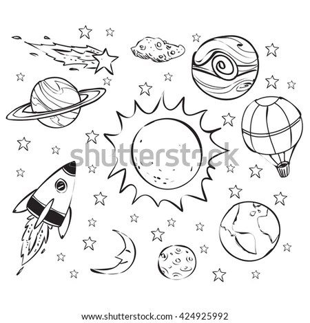 Coloring Book Outlined Outer Space Elements Stock Vector