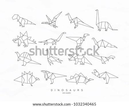 Set Dinosaurs Flat Origami Style Tyrannosaurus Stock