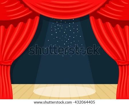 Cartoon Theater Theater Curtain Spotlights Beam Stock