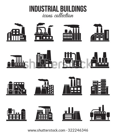 Factories Silhouette Patterns Stock Vector 273992072