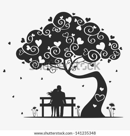 Cute Baby Girl Swing Hd Wallpaper Illustration Magic Tree Pair Lovers Stock Vector 141235348