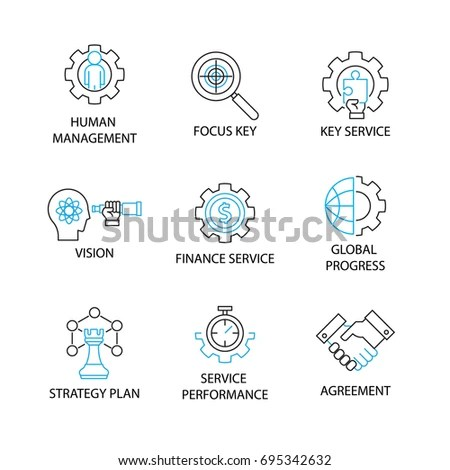 Company Core Values Outline Icons Websites Stock Vector