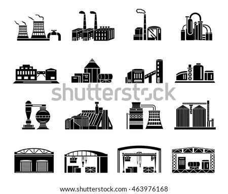 Set Factory Building Production Equipment Cranes Stock