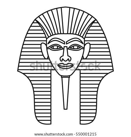 Egyptian Pharaohs Mask Icon Outline Illustration Stock