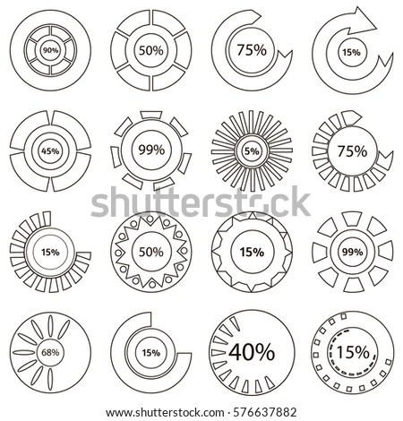 Colorful Download Status Icons Set Outline Stock
