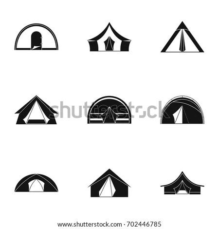 Tourist Tent Form Icon Set Simple Stock Vector 702446785