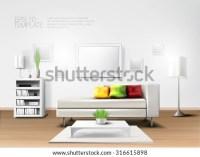 Fancy Modern Living Room White Sofa Stock Vector 316615898 ...