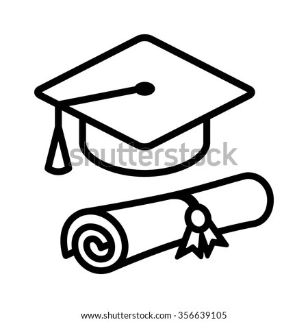 Graduation Cap Hat Diploma Line Art Stock Vector 356639105