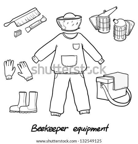 Beekeeper Working Protection Equipment Vector Illustration