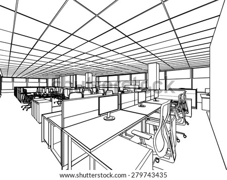 Outline Sketch Drawing Perspective Interior Space Stock