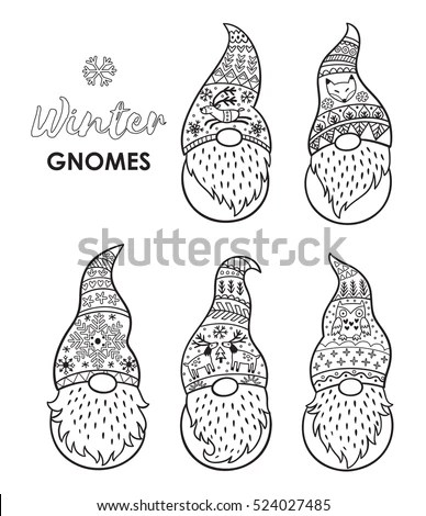 Outline Set Trolls Gnomes Beards Long Stock Vector