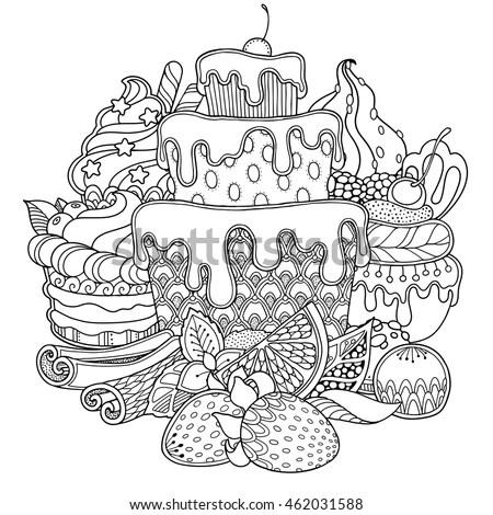 Magic Dessert Composition Doodle Style Floral Stock Vector