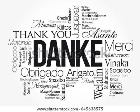 Danke Thank You German Word Cloud Stock Vector 645638575