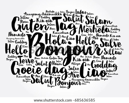 Bonjour Hello Greeting French Word Cloud Stock Vector