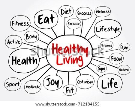 Healthy Living Mind Map Flowchart Health Stock Vector