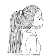 hand drawn style ponytail cute