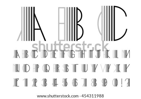 Abstract Alphabet Lines Font Design Black Stock Vector