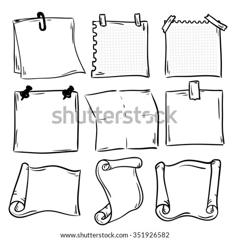Hand Drawn Doodle Notepaper Messages Set Stock Vector