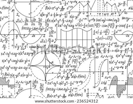 Vector Seamless Pattern Mathematical Formulas Equations