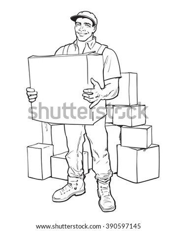 Moving Companies Shipping Happy Loader Stands Stock Vector