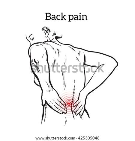 Lumbar Pain Woman Back Pain Human Stock Illustration