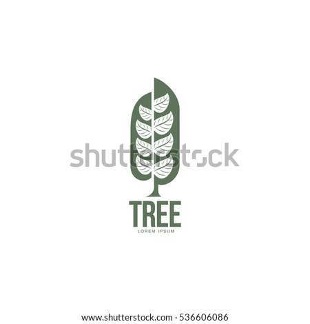 Extended Graphic Tree Logo Template Stylized Stock Vector