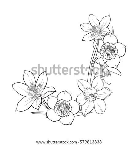 Half Frame Spring Flowers Decoration Element Stock Vector