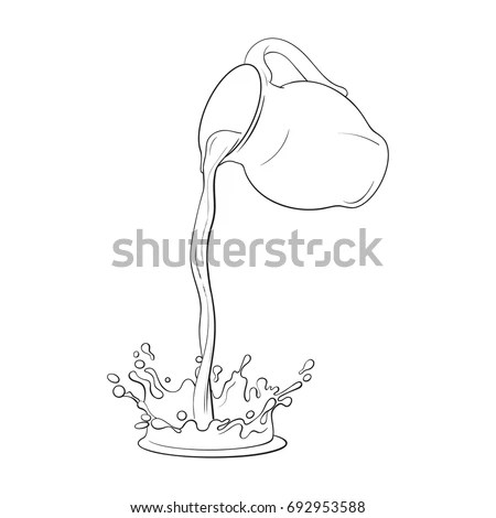 Drawing Liquid Drink Pouring Jar Making Stock Vector