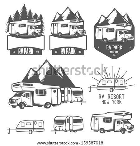 Rv Caravan Park Badges Design Elements Stock Vector