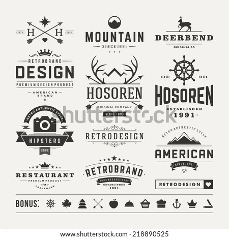 Retro Vintage Insignias Logotypes Set Vector Stock Vector