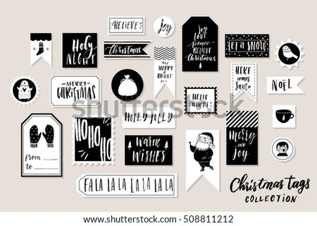 Collection Stylish Black White Gold New Stock Vector