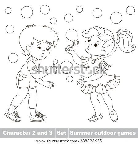 Page Be Color Boy Girl Playing Stock Vector 288828635