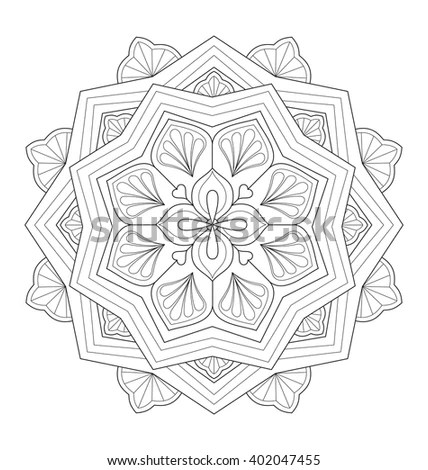 Decorative Mandala Illustration Adult Coloring Well Stock