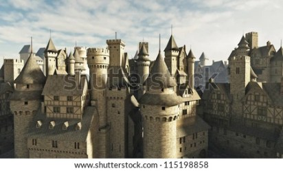 medieval fantasy town rooftops 3d illustration digitally rendered shutterstock royalty preview