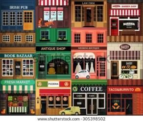 cartoon shops seamless vitrine vector elements pattern street shutterstock