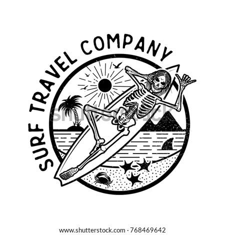 Vector Logo Illustration Skeleton Surfer Vintage Stock