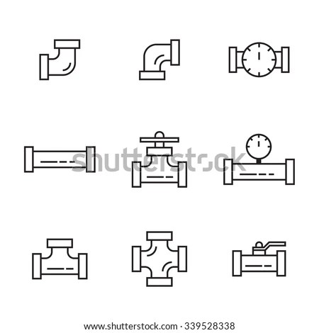 Pipes Fittings Tap Vector Icons Lineart Stock Vector