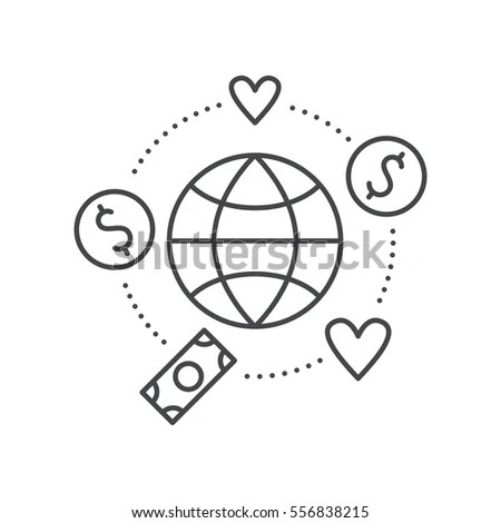 Globe Surrounded By Hearts Money Concept Stock Vector