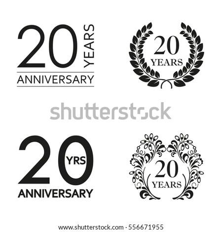 20 Years Anniversary Set Anniversary Icon Stock Vector
