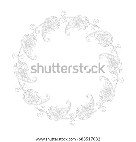 Border Floral Ornament Cross Stitch Embroidery Stock