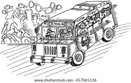 Hand Drawn Motorcycle Rickshaw Taxi Vector Stock Vector