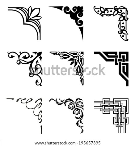 Set Ornamental Corners Different Style Stock Vector