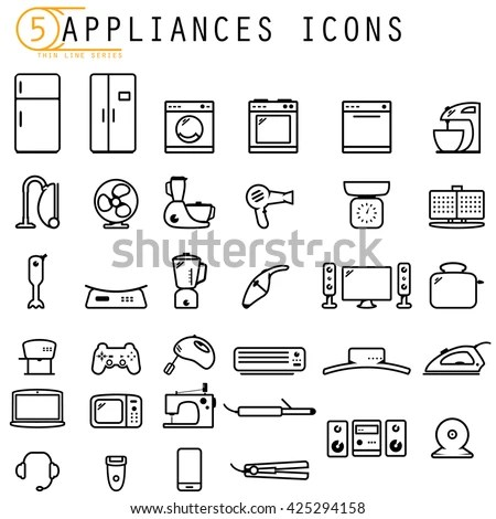Household Appliances Icons Stock Vector 425294158
