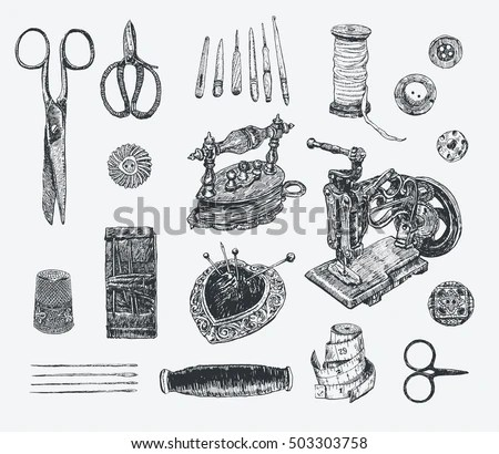 Vintage Sewing Tailor Set Tailor Shears Stock Vector