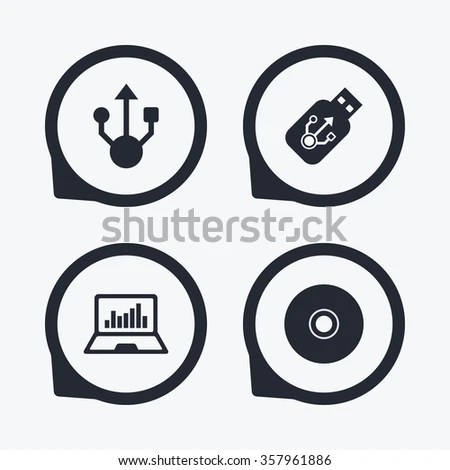 Usb Flash Drive Icons Notebook Laptop Stock Vector