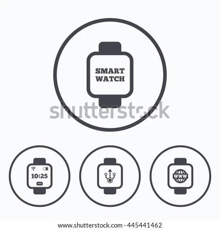 Smart Watch Icons Wrist Digital Time Stock Illustration