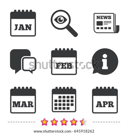 Calendar Icons January February March April Stock Vector
