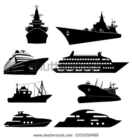 Steamship With Yacht Silhouette Vector Free Vector In