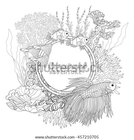 Coral Reef Corals Fish Coloring Book Stock Vector