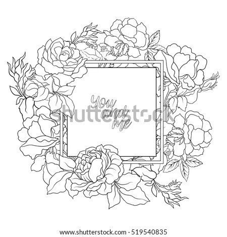 Rose Flower Background Space Text Outline Stock Vector